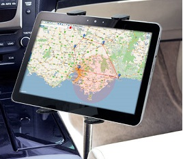 Universal Tablet PC Car Mount - 18 inch Seat Rail or Floor Mount